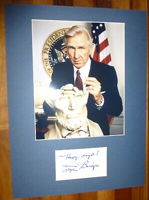 LLOYD BRIDGES-Hand Signed Card is Presented With A Photo-Mounted & Matted,COA