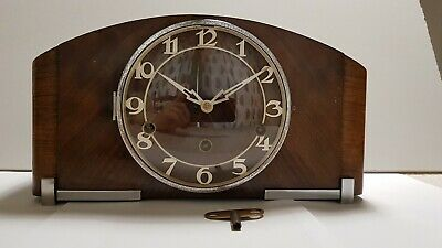 German Art Deco Type Wooden Mantle Clock - With Pendulum And Key.