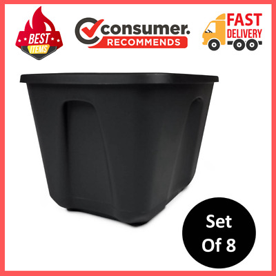 8 Plastic Storage Container Box 18 Gallon Stackable Organizer Bin Containers Lid