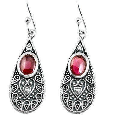 3.36cts Natural Red Garnet 925 Sterling Silver Dangle Earrings Jewelry P63926