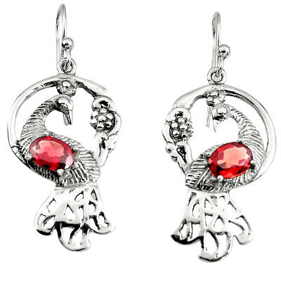 3.51cts Peacock Natural Red Garnet 925 Sterling Silver Dangle Earrings P95094