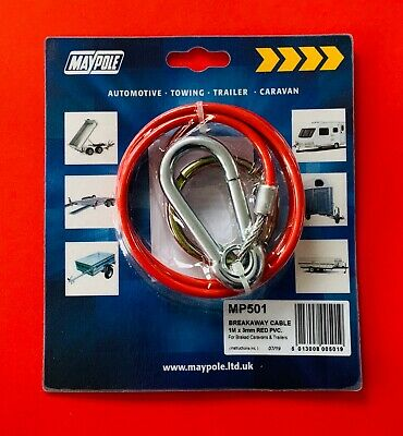 Breakaway Cable with Split Ring Fastening 1M 3mm Red PVC MP501 MAYPOLE