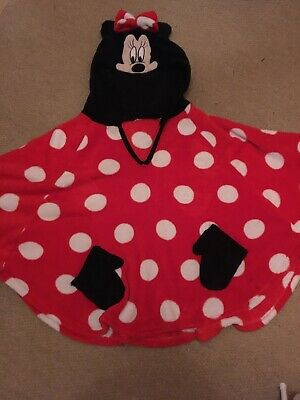 Ladies/Girls Minnie Mouse Hooded Fleece Poncho - One Size In Good Condition