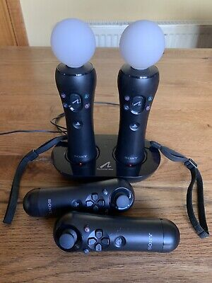 2 X Official Sony PS4 PS3 PlayStation Move Motion Controllers Used once