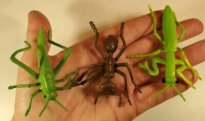 """Insect Toy Figure Lot Grasshopper Ant Praying Mantis Lot 2.5-3"""" PVC Rubber NEW"""