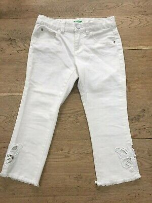 Girls BENETTON White Cropped Jeans 8-9Yrs