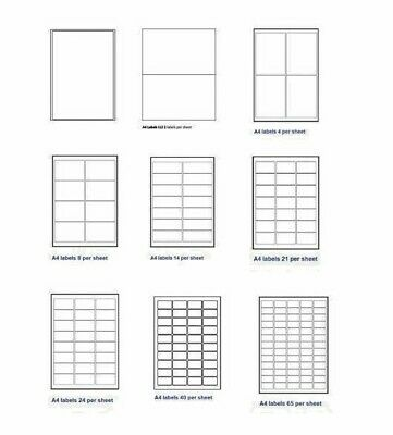 Address Labels  A4 White Sticky Self Adhesive Sheets for Inkjet / Laser Printers