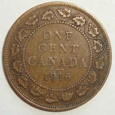 1916 Canada One 1 Cent George V Large Penny Coin