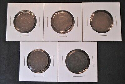 Canada Large Cents - Lot of 5 - Five Different Dates!