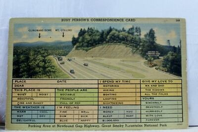 Great Smoky Mountains National Park Newfound Gap Parking Postcard Old Vintage PC
