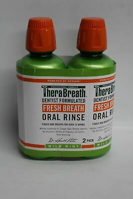 THERABREATH Oral Rinse Dentist Formulated Mouth Wash Mild Mint Flavour 2 PCS NEW