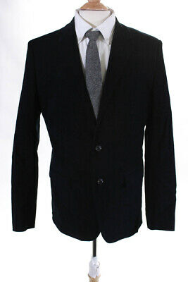 Theory Mens Two Button Notched Lapel Blazer Navy Blue Corduroy Size 42 Long