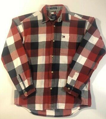 Tommy Hilfiger🇺🇸Plaid Flannel Button Down Shirt Red Blue Mens Size L