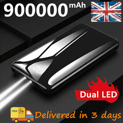 UK 2020 NEW Power Bank 900000mAh Dual USB LCD&LED for Cell Phone Battery Charger