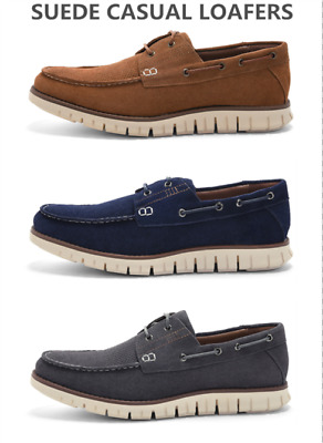 Men's Suede Leather Loafers Slip on Boat Shoes Non-slip Casual Comfy Breathable