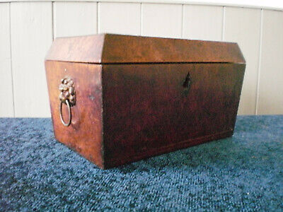 Antique Burr Walnut Box With Lion Handles Ebony Inlay For Restoration