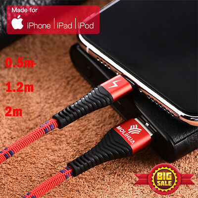 Heavy Duty Long Braided Lightning USB Quick Charger Cable For iPhone 0.5M RED
