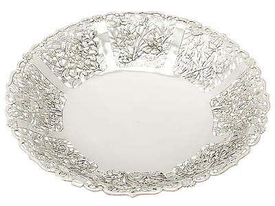 Chinese Export Silver Fruit Dish Antique Luen Hing Circa 1880