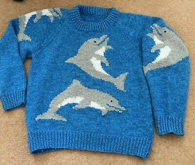 Dolphin Lover Snuggly Warm Jumper Dolphin Pattern Boy Or Girl Suit 8-11 Years