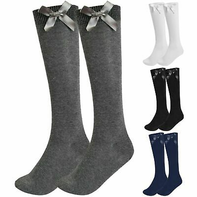 1,3,6 Packs Girls Knee High Plain School Socks With Satin Long Bow At The Topv