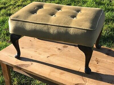 Vintage Wooden Foot Stool Queen Anne Legs Upholstered Seat