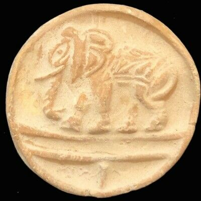 Large Ancient Sasanian Clay Seal With Elephant (4)