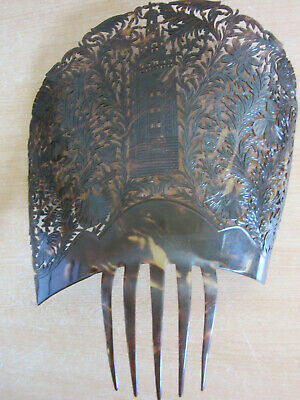 "Huge 12.5""  Antique Ornate Celluloid Tortoise shell Hair Comb / Hat Accessory"