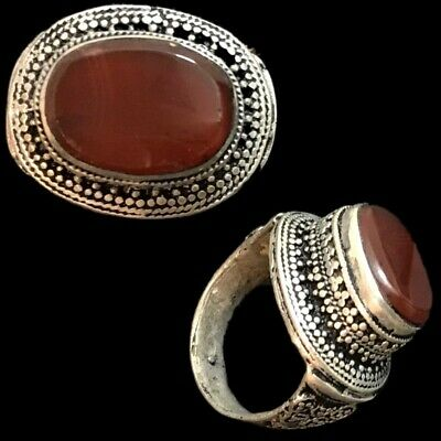 Stunning Top Quality Post Medieval Silver Ring With Carnelian Stone (3)