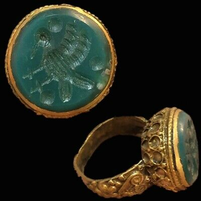 Stunning Top Quality Green Stone Intaglio Seal Stone Ring (4)