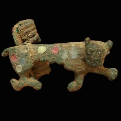 Ancient Roman Bronze Coloured Enamelled Panther Fibula Brooch- 200-400 Ad (6)