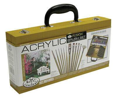 Artist Acrylic Paint Wooden Box Set & Deluxe Fusion Brushes Painting ACRY2010