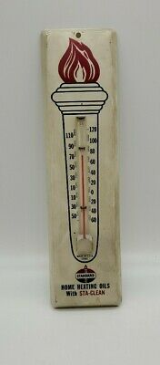 """Vintage Standard Oil """" Sta Clean"""" metal thermometer USA 1960"""