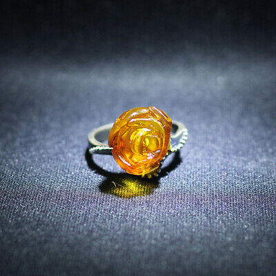 Old beautiful natural Baltic Poland yellow gold amber ring US size 5