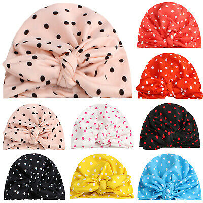 Baby Newborn Boy Girl Turban Beanie Hat Toddler Kids Spotted Bow Knot Cute Cap