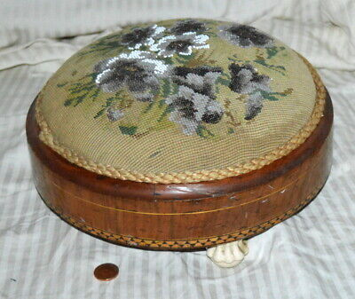 Victorian Carriage Or Foot Stool With Beadwork, Marquetry, Porcelain Feet c.1860