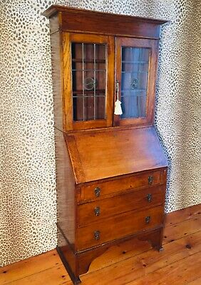 Art Nouveau Oak Bureau / Bookcase