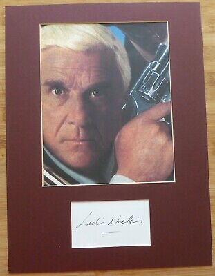 LESLIE NIELSON-A Hand Signed Card Presented With A Photo-Mounted & Matted,COA