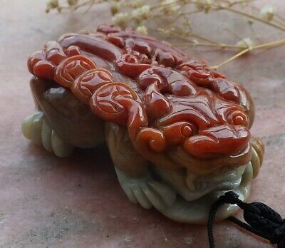 Certified Brown red Natural A Jade jadeite pendant Dragon Pi Xiu Coin 貔貅 559602