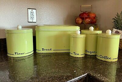 Vintage Retro Green Metal Bread Box with 4 Piece Canister set Modern Kitchen