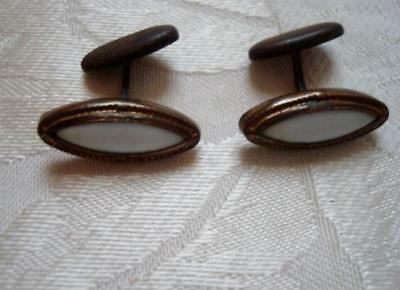 Vintage Antique Cuff Links White Glass Stones As Found
