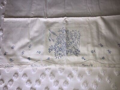 Vintage Pillowcase to Embroider Crochet Umbrella Stamped Linens
