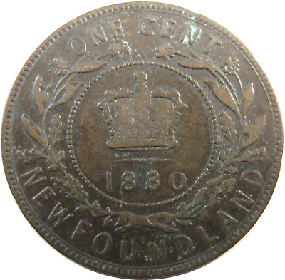 1880 - Canada - Newfoundland - One Cent Coin - Free Shipping !!! - #639