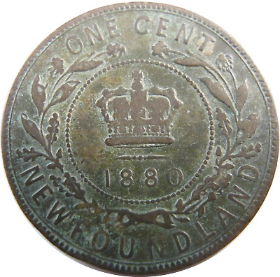 1880 - Canada - Newfoundland - One Cent Coin - Free Shipping !!! - #641