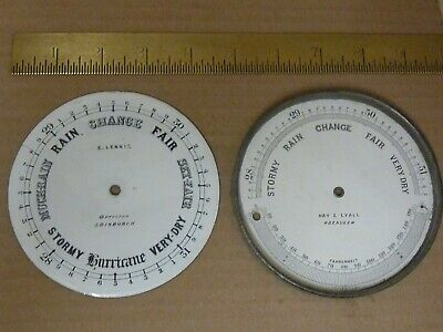 2 Old Aneroid Barometer Dials--Both Are Signed  -- Free Post