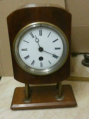 Antique French Clock Movement & Dial In Home Made Case - Free Post Uk