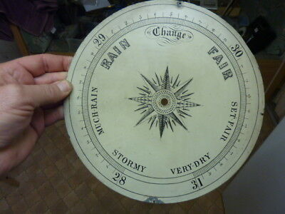 """Old - Antique Painted 9 7/8"""" Barometer Dial (Pa)"""