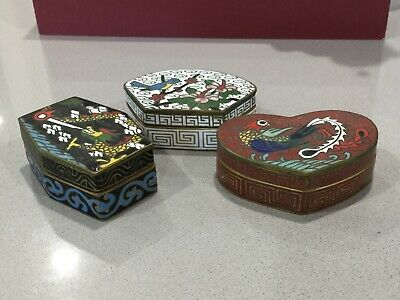 VINTAGE ANTIQUE CHINESE ENAMEL CLOISONNÉ PILL SNUFF BOX Dragon Phoenix  Lot Of 3