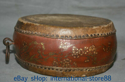 "8.4"" Old Chinese Wood Lacquerware Dynasty Palace Peach Blossom Drum"