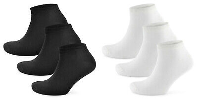 3 6 12 Mens Trainer Liner Sports Gym Ankle Socks Low Cut White Black Size 7-11