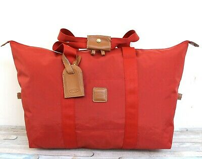 Lrg Bric's Milano Italy Red Nylon Canvas Duffle Travel Tote Luggage Shoulder Bag